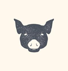 pig vintage retro print poster banner black vector image