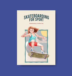 poster template with skateboard design concept vector image