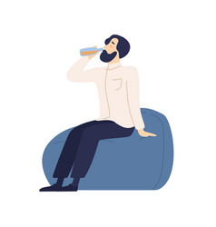 Relaxed bearded male sitting on comfy armchair vector