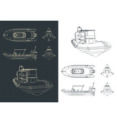 Rigid inflatable boat drawings vector