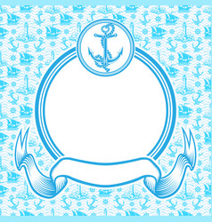 Round blue frame with anchor vector