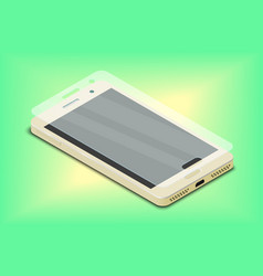 Screen protective glass over smartphone on green vector