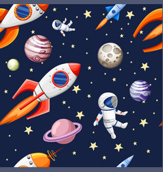 seamless pattern space elements cartoon design vector image