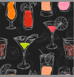 Seamless pattern with cocktails color outline on vector