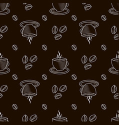 Seamless pattern with outline cup coffee and vector