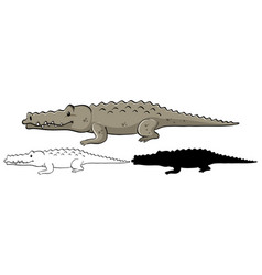 Set crocodile cartoon vector
