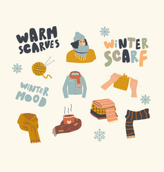 set icons warm clothing theme clew and vector image