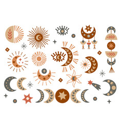Set isolated celestial and boho elements vector
