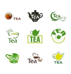set logo tea vector image