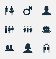 Set simple lovers icons vector