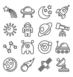 space icon set on white background line style vector image