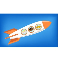 space rocket flying into space with astronauts vector image