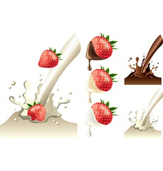 strawberry milk set vector image