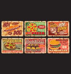 street fast food restaurant meals rusty plates vector image