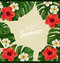 summer poster with tropical flowers vector image