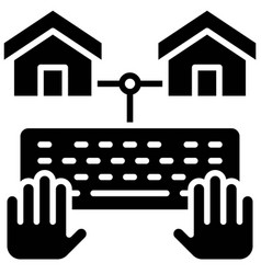 Telecommuting or remote work icon vector