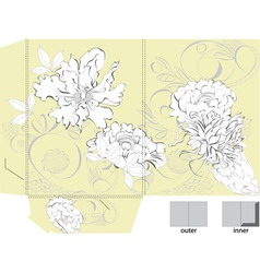 template for bag with floral ornament vector image