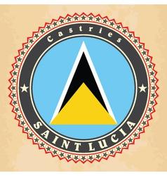 Vintage label cards of Saint Lucia flag vector