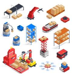 Warehouse Robots Icon Set vector