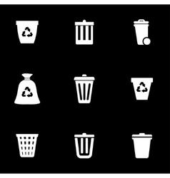White trash can icon set vector