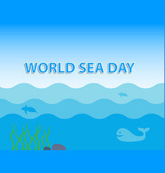 world sea day concept with whale and turtle under vector image