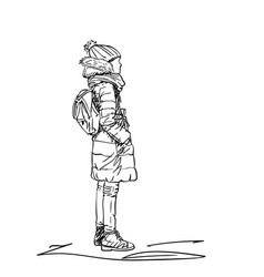 Young girl without face in winter warm clothes vector