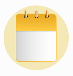 blank sheet of calendar yellow color on the light vector image vector image
