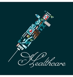 Healthcare icons in a shape of syringe vector image