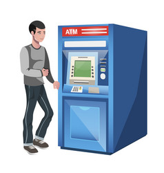 man standing near atm machine vector image vector image