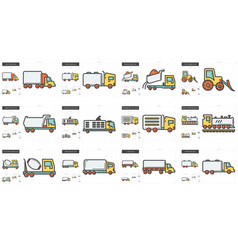 transportation line icon set vector image vector image