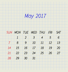 calendar for may 2017 vector image vector image