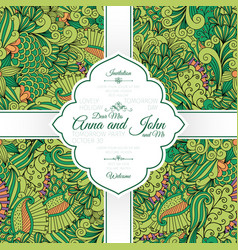 green leaves and swirls pattern card vector image vector image