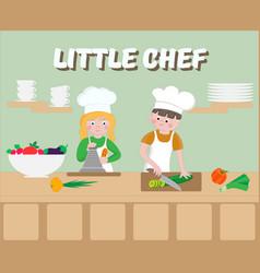 little chef poster children cook vector image