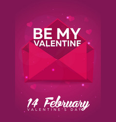 poster valentines day flat pink envelope on pink vector image