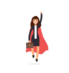 superhero businesswoman in red cloak character vector image vector image