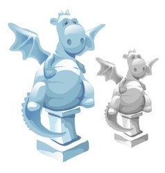 Ice statue of cute fat dragon in cartoon style vector image