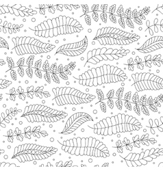 Seamless pattern black and white doodle leaves vector image vector image