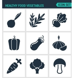 Set of modern icons Healthy food vector image