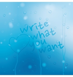 Blue water drops grunge background vector image