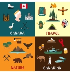 Canadian travel and nature flat icons vector image vector image