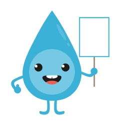 Cartoon water drop character with blank sign vector image