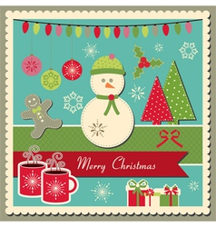 Christmas card with snowman vector image vector image