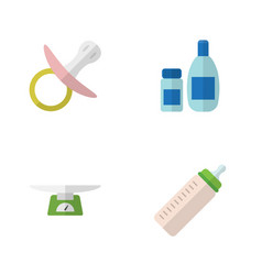flat kid set of nipple feeder cream with lotion vector image vector image