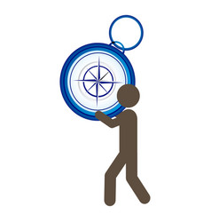 Person with compass in his hands and shoulder vector