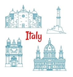 Popular travel landmarks of Italy thin line icon vector image vector image