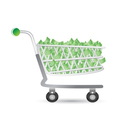 shopping cart filled with money vector image vector image