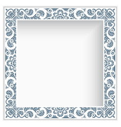 square photo frame with lace border pattern vector image vector image