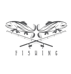 vintage fishing design template with trout vector image vector image