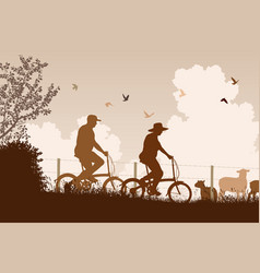 weekend cyclists vector image vector image