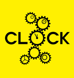 Word clock with big gear instead o on yellow vector